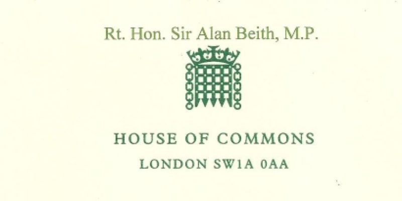 Correspondence from Sir Alan Beith
