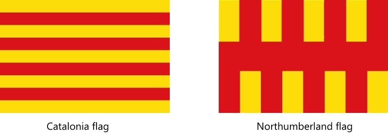 Catalonia and Northumberland flags