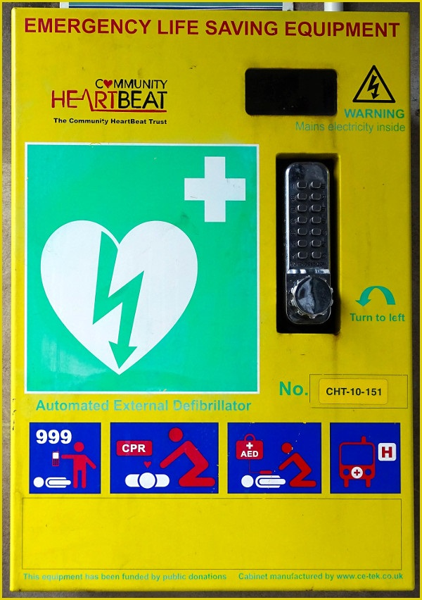 photo of an automated external defibrillator