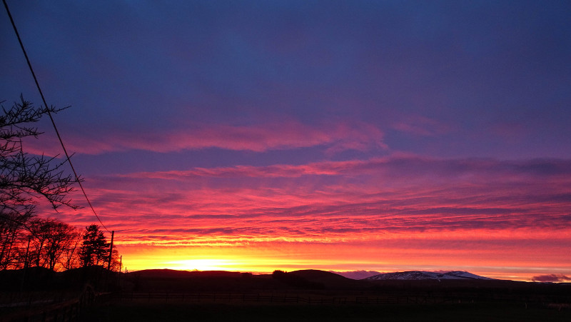 Sunset at Powburn looking towards Cheviot Hills