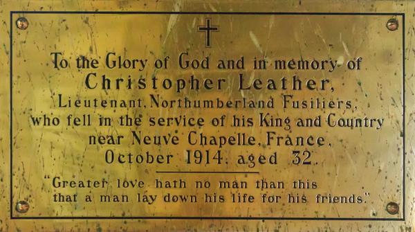 LEATHER Christopher commemorative plaque Ingram Church c. G Williamson