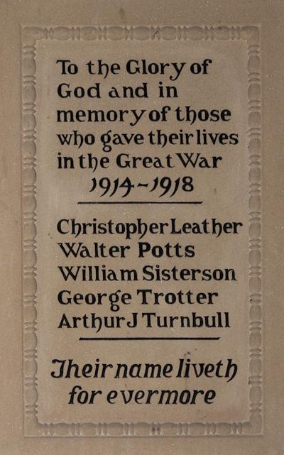 plaque at Ingram church re 1914-1918 c. G Williamson