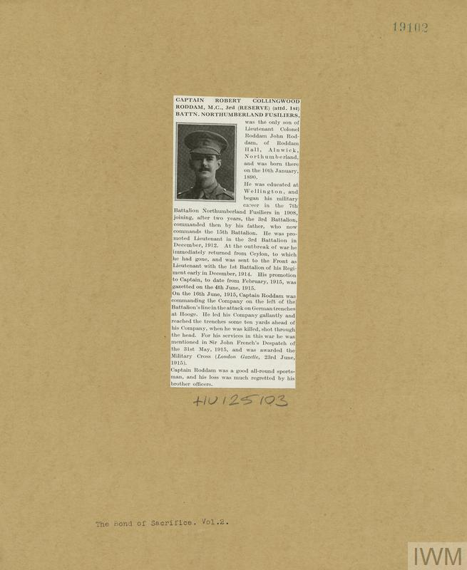 RODDAM Robert Collingwood - newspaper cutting c. IWM
