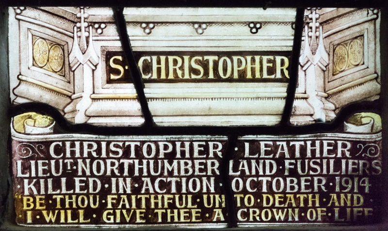 LEATHER Christopher stained glass window inscription c. G Williamson 2018