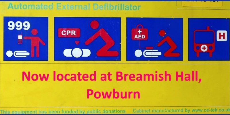 Defibrillator relocated to Breamish Hall