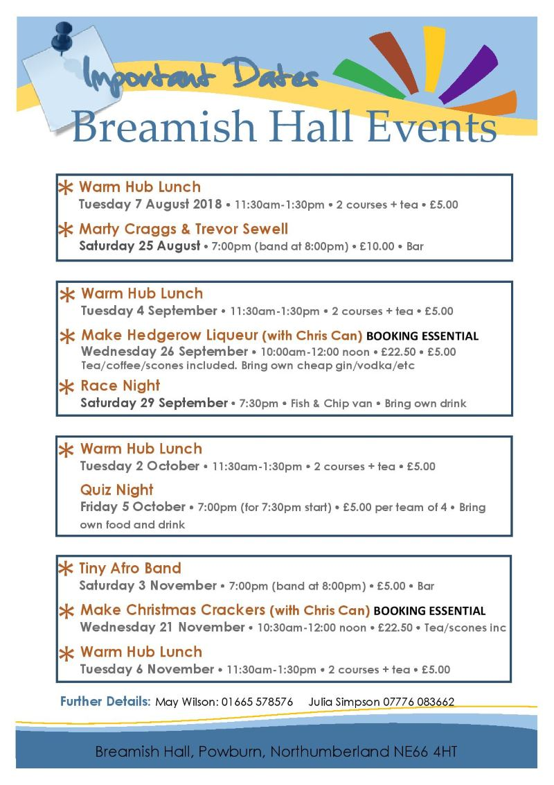 Breamish Hall Events 2018 Aug-Nov 2018 version 5.0