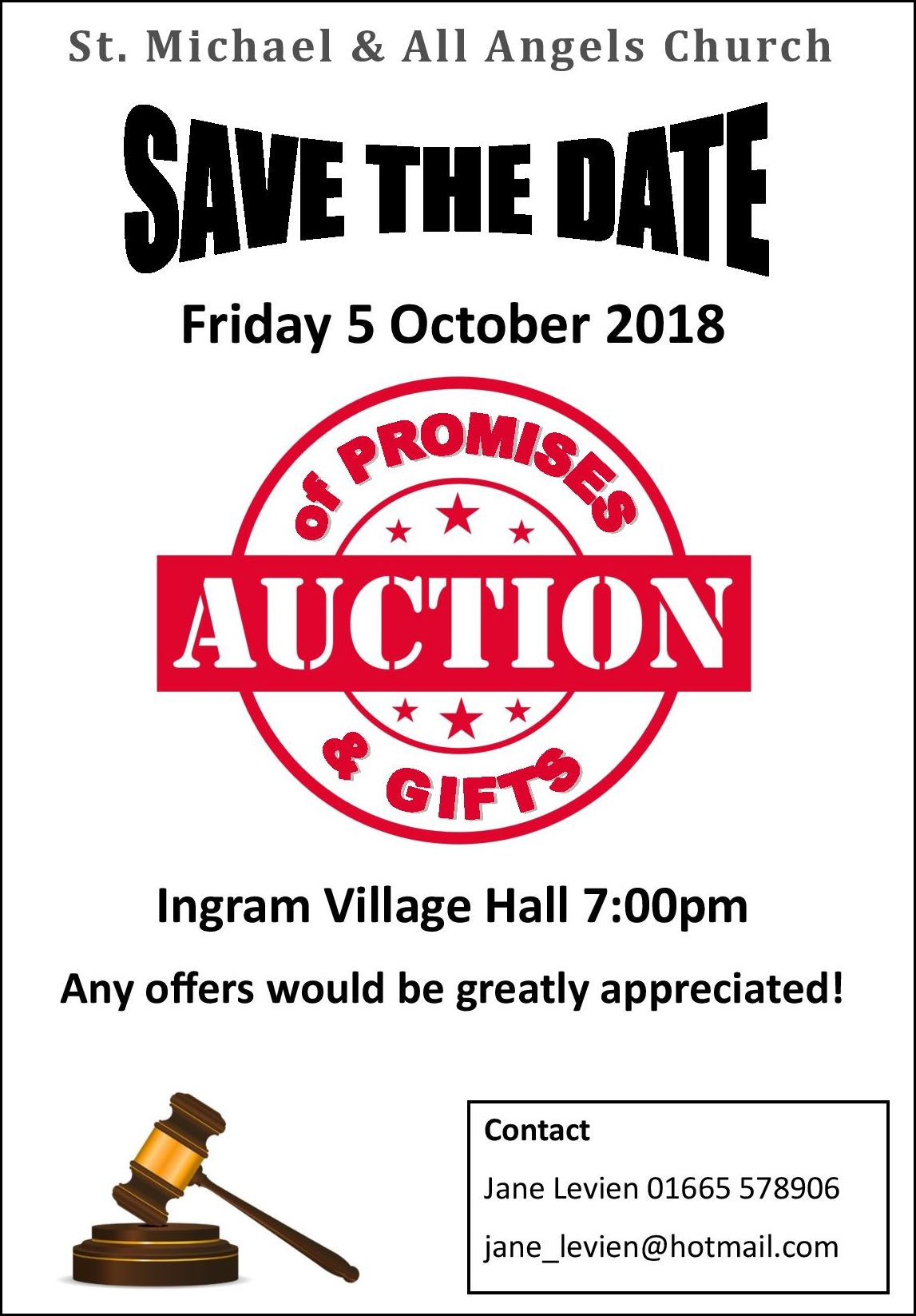 Auction of Promises and Gifts Ingram Church OCT 2018 poster v3
