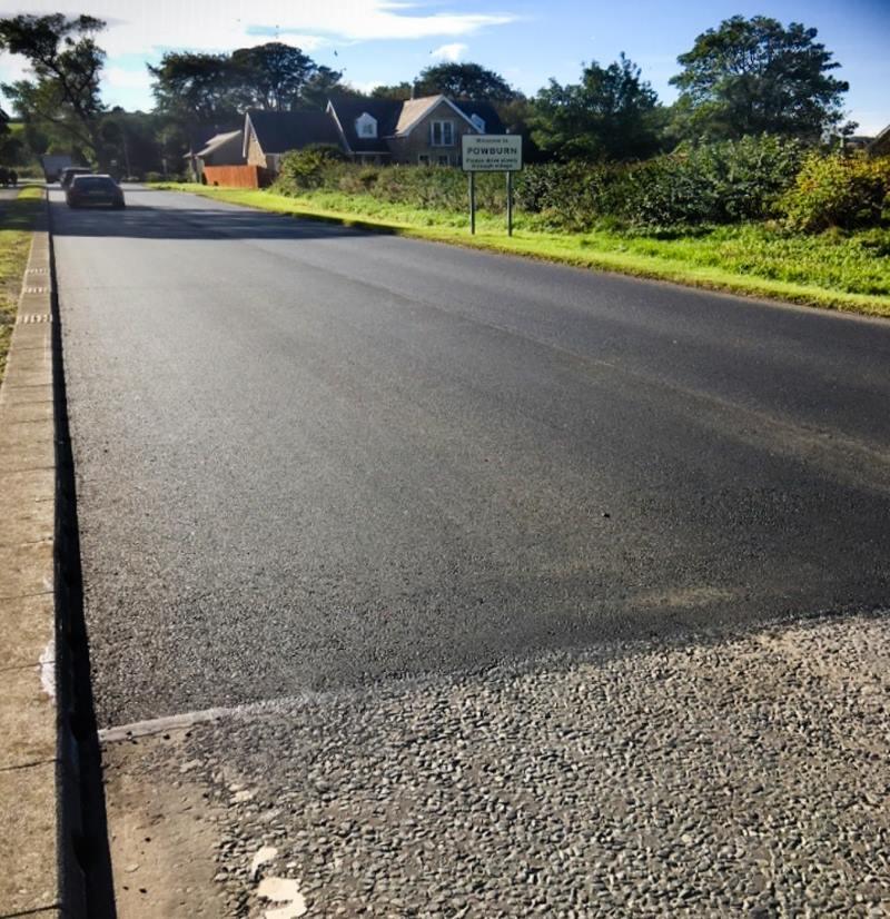 A697 road resurfacing at Powburn