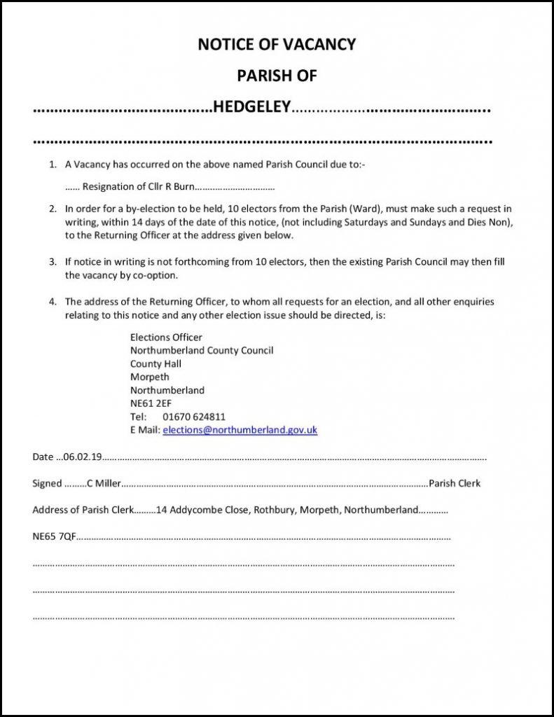 Hedgeley Parish Council vacancy notice 1