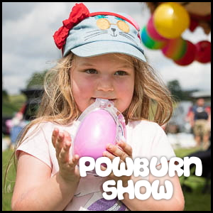 Photo of little girl hugging a toy overlaid with the words 'Powburn Show'