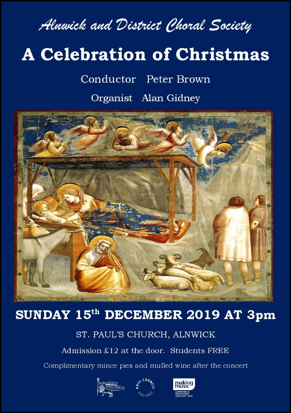 Alnwick and District Choral Society Christmas Concert poster