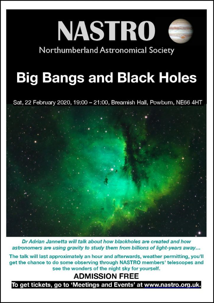 NASTRO poster for Big Bangs and Black Holes event
