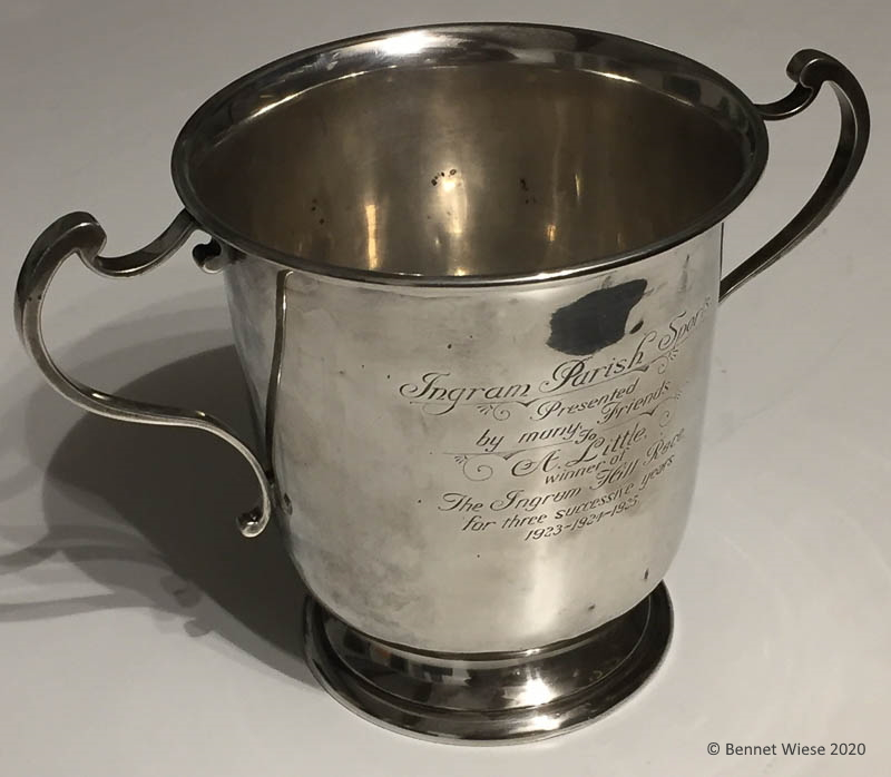 Ingram Parish Sports silver cup awarded 1925 to A. Little
