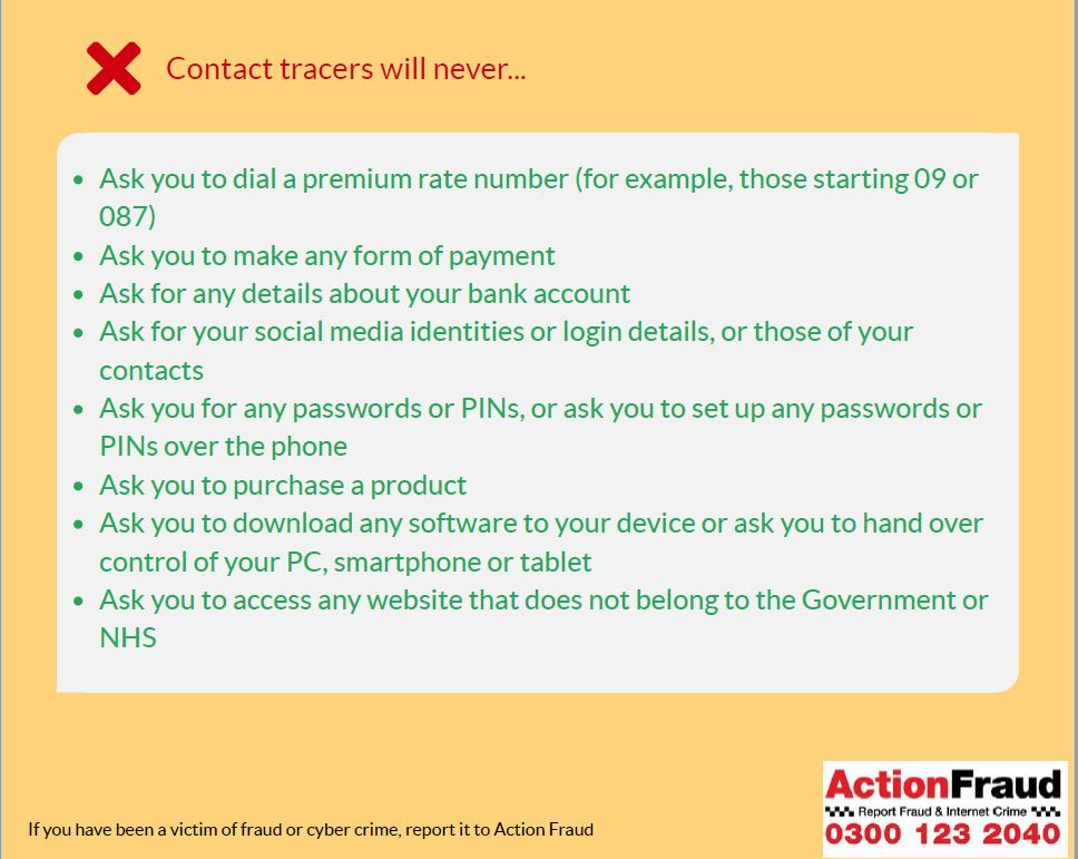 Contact Trace Advice poster from Action Fraud