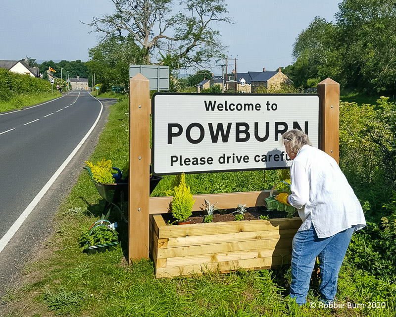 May Wilson planting south road sign planters on A697