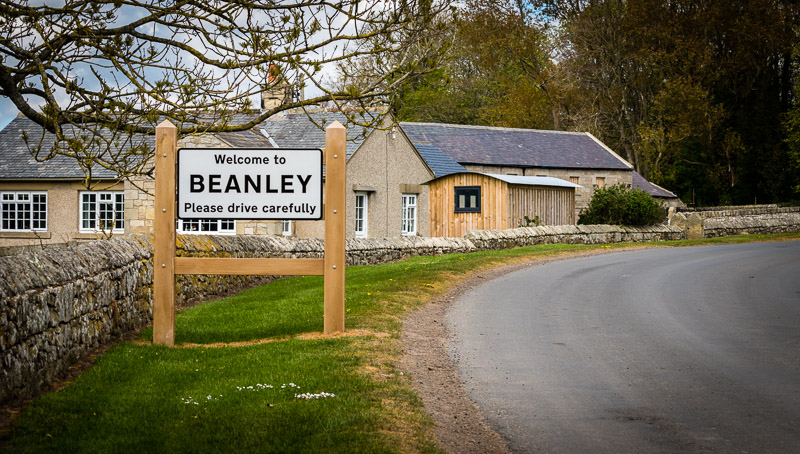 new gateway road sign at Beanley village