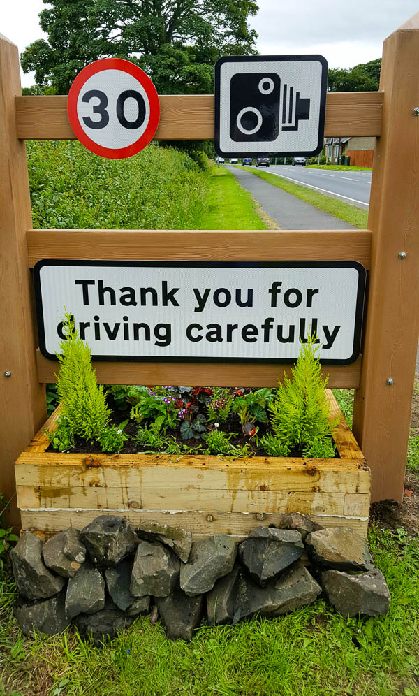 Another middle road sign planter at Powburn completed