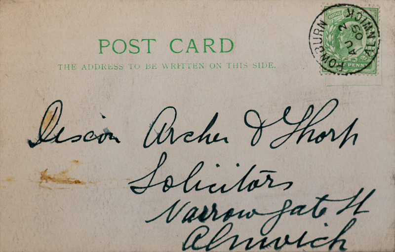 Postcard addressed to Dixon, Archer and Thorp