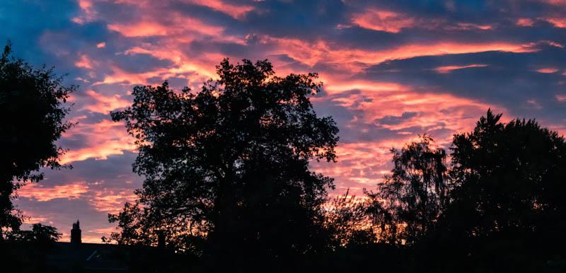 Panorama view of sunset over Powburn