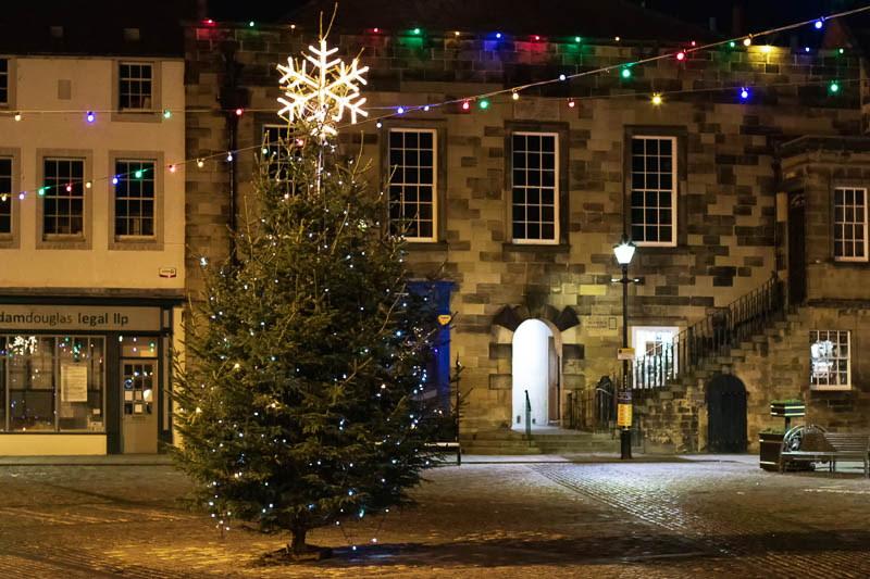 Night time photo of Christmas tree