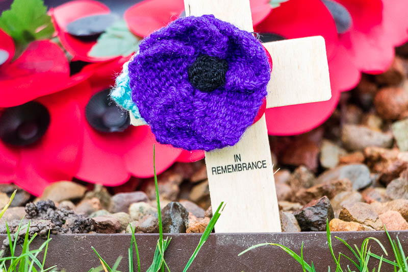 Close up photo of a purple poppy and cross