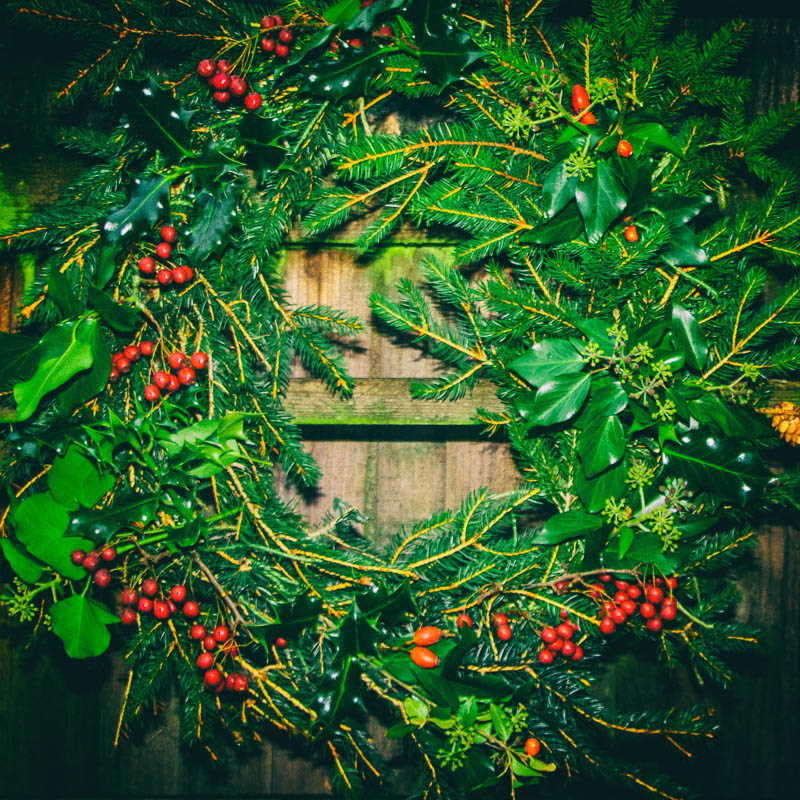 Christmas wreath with holly and berries