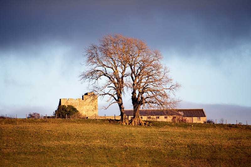 photo of Crawley Tower and barns