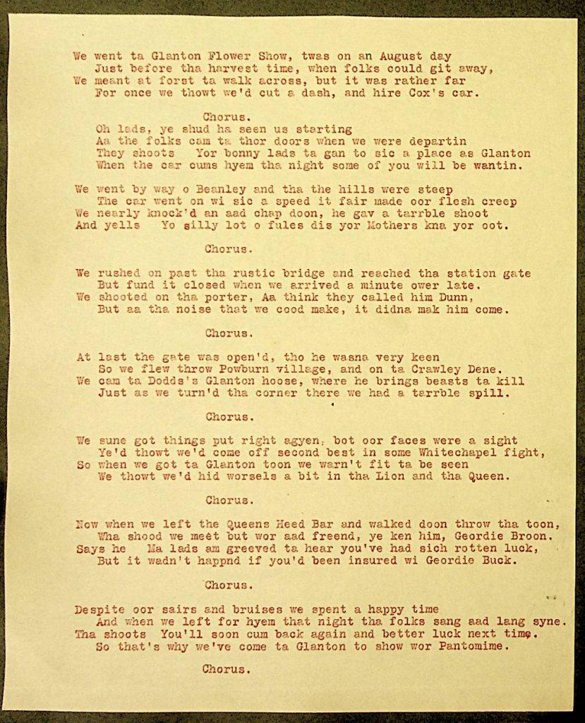 Facsimile of typewritten Glanton Flower Show song