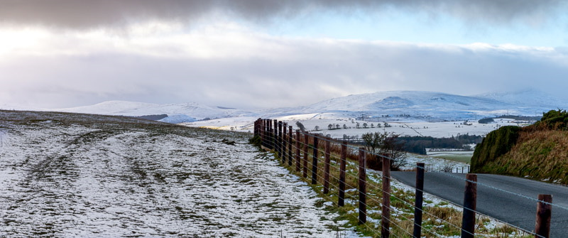 Panoramic photo of Cheviot Hills seen from Beanley village
