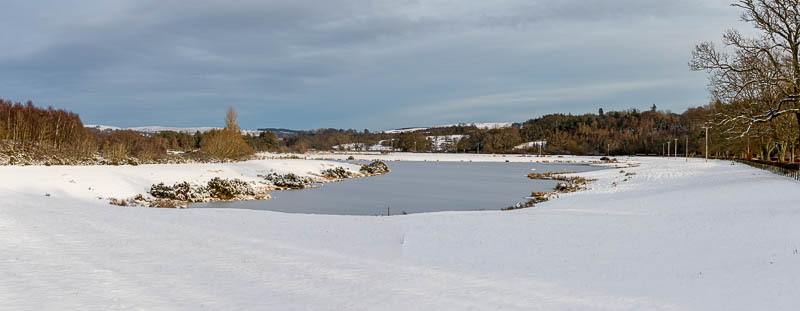 Panoramic photo of frozen lake at Hedgeley, Northumberland