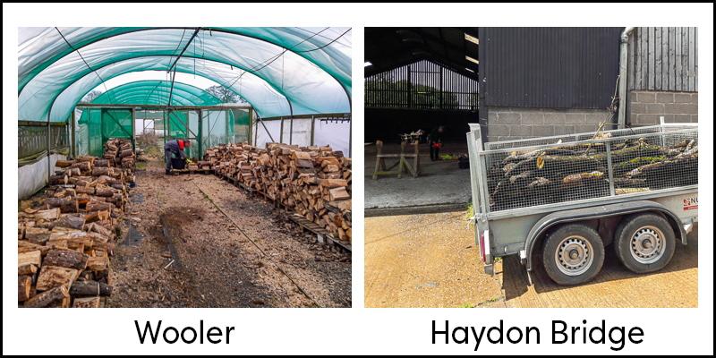 photograph showing barns used by Wooler and Haydon Bridge log banks