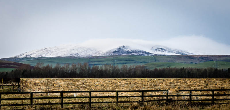 Photo of snow covered Cheviot Hills looking across open fields