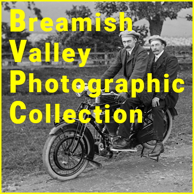 Vintage photo of two men on motorcycle overlaid with the words Breamish Valley Photographic Collection