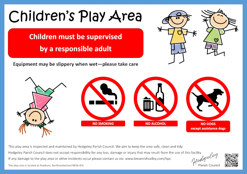 Image of the information board at the entrance to the children's play area in Powburn