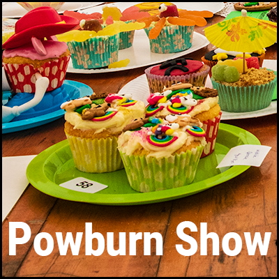 Photo of homemade cakes overlaid with the words 'Powburn Show'