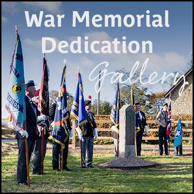 Photo of Breamish Valley War Memorial dedication ceremony with the words 'War Memorial Dedication Gallery'
