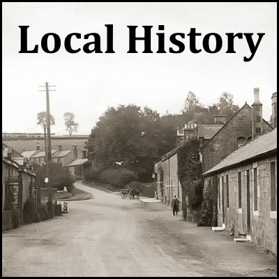 Vintage photo of road through Powburn village overlaid with the words 'Local History'
