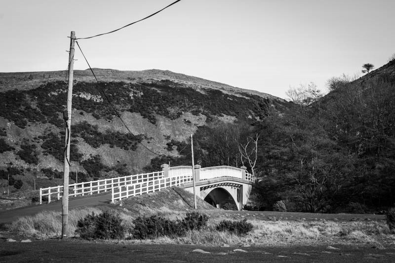 Black and white photo of Peggy Bell's Bridge in Northumberland