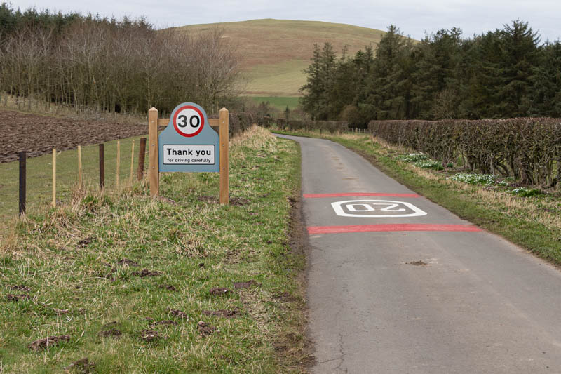 Photo of 30 mph road sign at exit from Branton