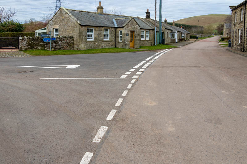 Photo of re-painted road markings at a road junction in Branton
