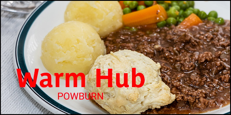 Photo of cooked dinner overlaid with the words 'Warm Hub Powburn'