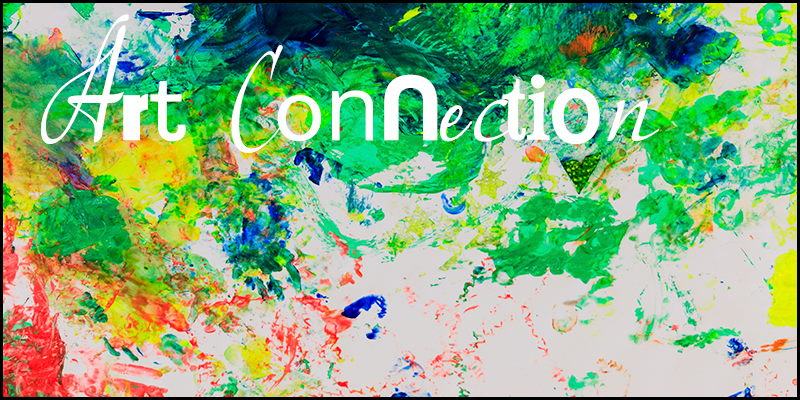 Colour abstract painting overlaid with the words 'Art Connection'