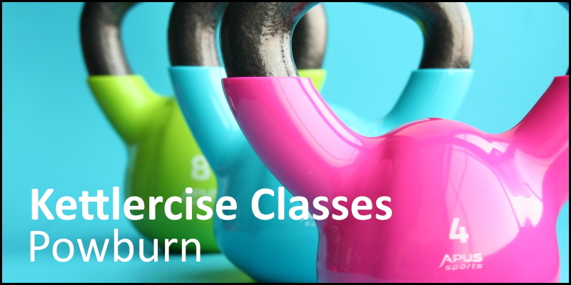 Photo of kettle bells overlaid with 'Kettlercise Classes Powburn'