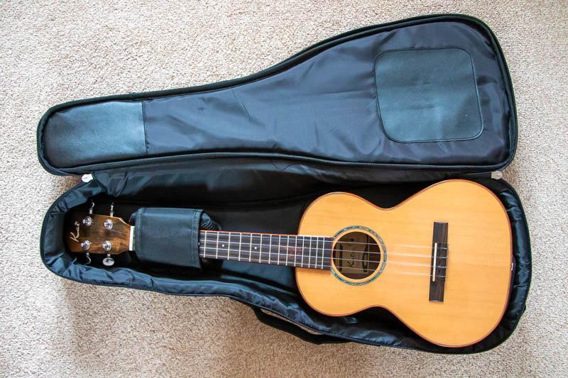 Photo of tenor ukulele in carrying bag