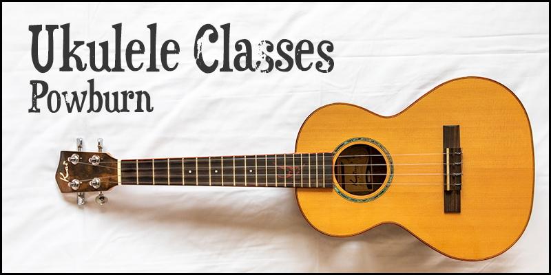 Photo of ukulele alongside the words 'Ukulele Classes Powburn'