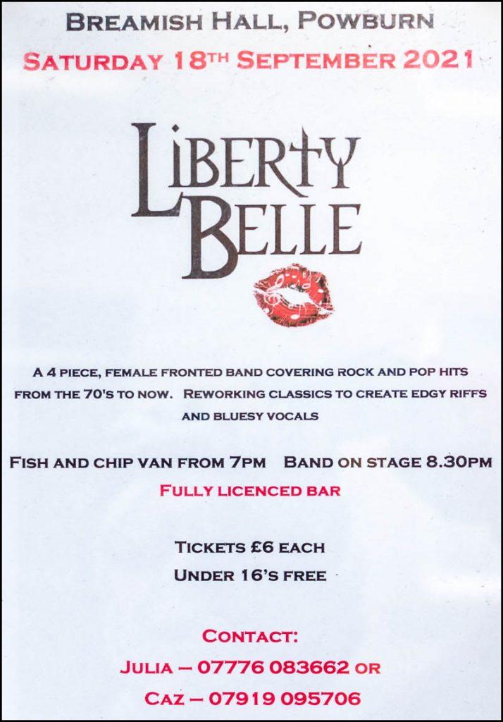 Poster advertising Liberty Belle performing at Powburn in September 2021
