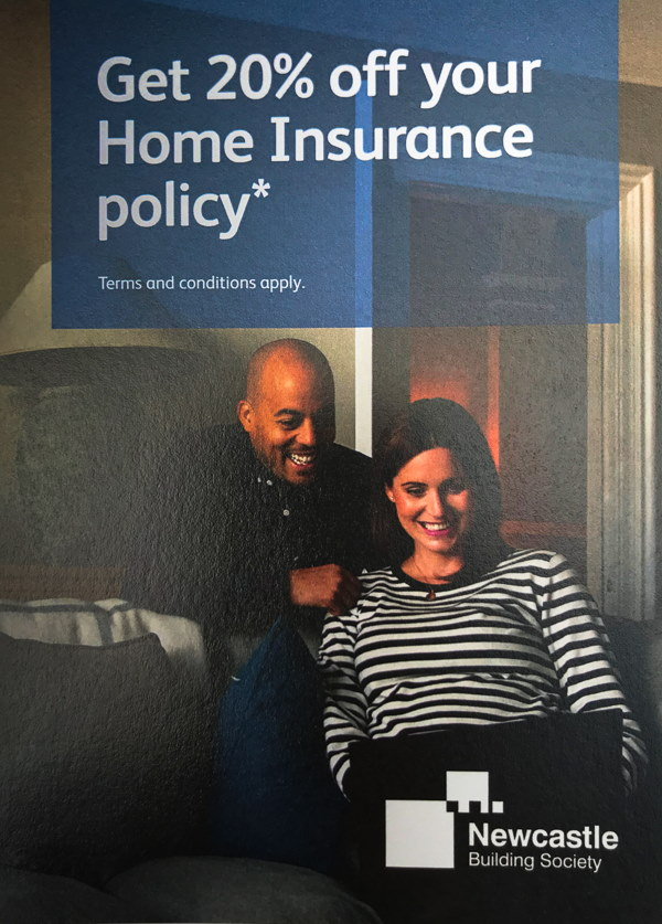 Newcastle Building Society poster advertising 20% off home insurance policies