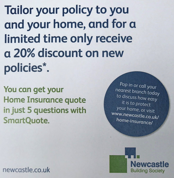 Newcastle Building Society poster advertising tailored insurance policies