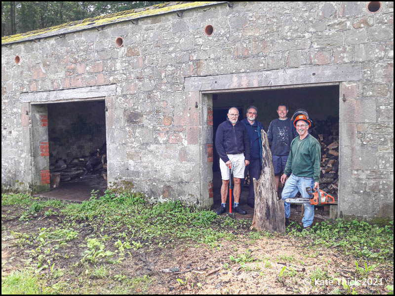 Photo of four male workers standing in barn entrance