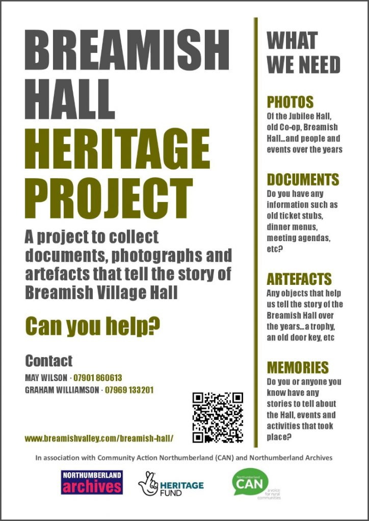 Poster advertising Breamish Hall Heritage Project 2021